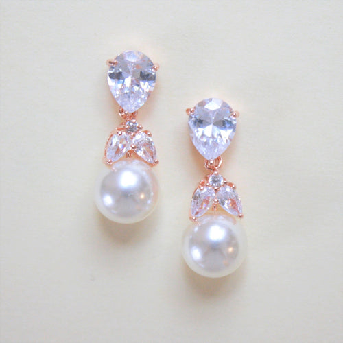 Crystal and Pearl Drop Earrings