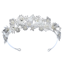 Load image into Gallery viewer, Bridal Silver Pearl Flower Crown
