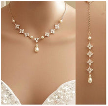 Load image into Gallery viewer, Pearl Crystal Backdrop Bridal Necklace & Pearl earrings set