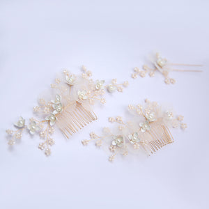 Romantic Flower And Beads Bridal Hair Comb And Pin 3 Set - BCW accessories