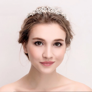 Bridal Silver Pearl Crown