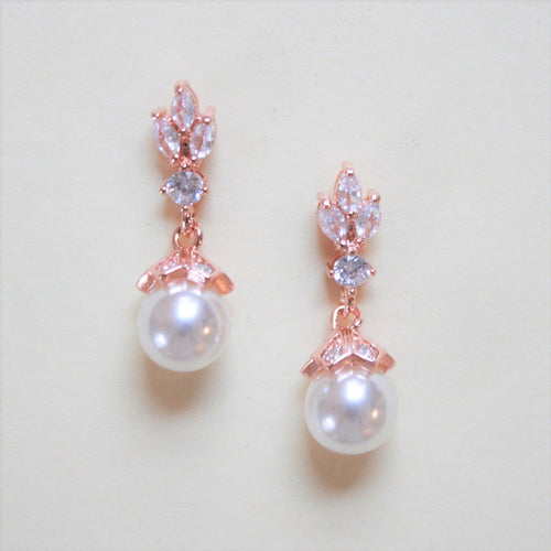 Pearl Drop Earrings Leaf Top