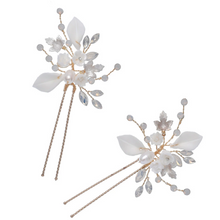 Load image into Gallery viewer, Set of 2 Opal And White Flower Bridal Hair Pins
