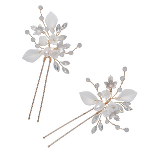 Set of 2 Opal And White Flower Bridal Hair Pins