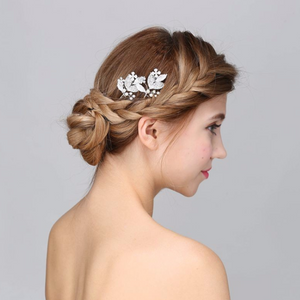 Silver Crystal Leaf Shape Wedding Hair Pin