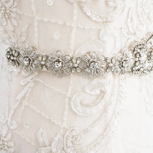 Opal Crystal Floral Bridal Belt Wedding Sashes