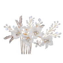 Load image into Gallery viewer, White Flower Gold Leaf Wedding Comb
