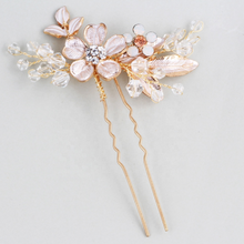 Load image into Gallery viewer, 3 Rose Gold Flower Leaf Bridal Hair Comb And Hair Pin Set