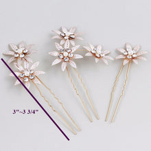 Load image into Gallery viewer, Set of 3 Rustic Rose Gold Flower Rhinestone Bridal hair pin - BCW accessories