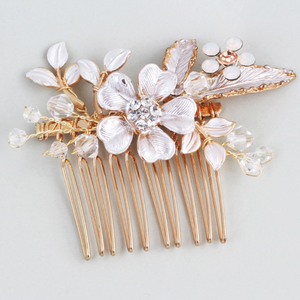 3 Rose Gold Flower Leaf Bridal Hair Comb And Hair Pin Set