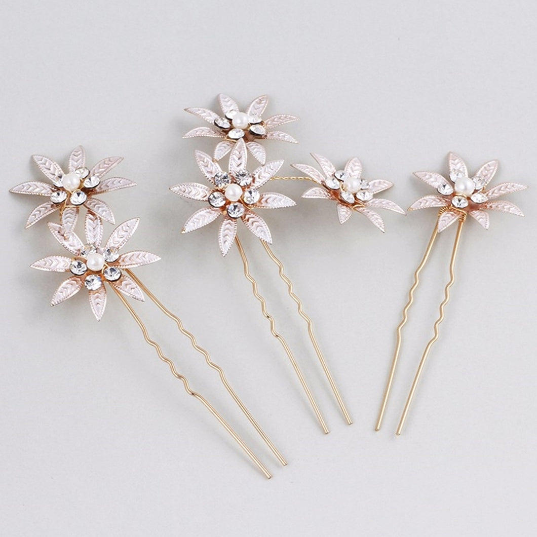 Set of 3 Rustic Rose Gold Flower Rhinestone Bridal hair pin - BCW accessories