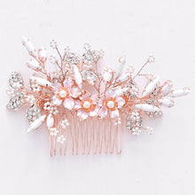 Load image into Gallery viewer, Rose Gold Flower With White And Rhinestone Bridal Comb - BCW accessories