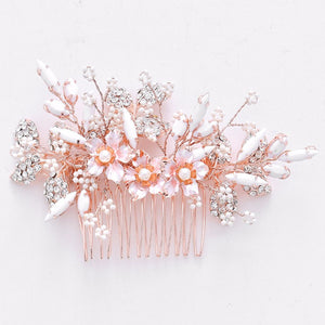 Rose Gold Flower With White And Rhinestone Bridal Comb - BCW accessories