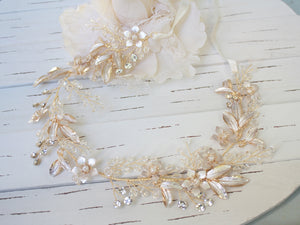 Rose gold bridal head band with white ribbon, Bridal hair accessory, Wedding hair accessory - BCW accessories