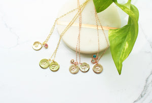 Personalized initial necklace with birthstone