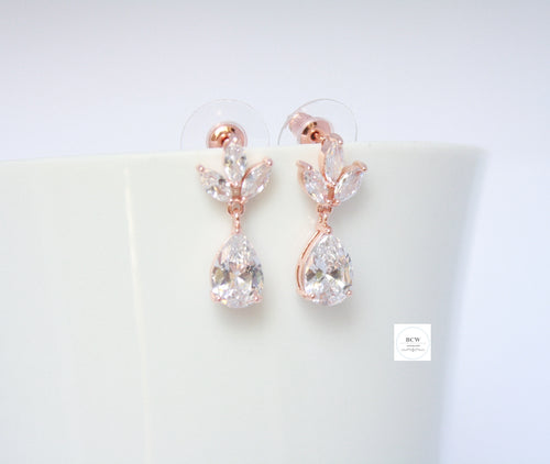 Rose Gold Leaf Tear Drop Earrings - BCW accessories