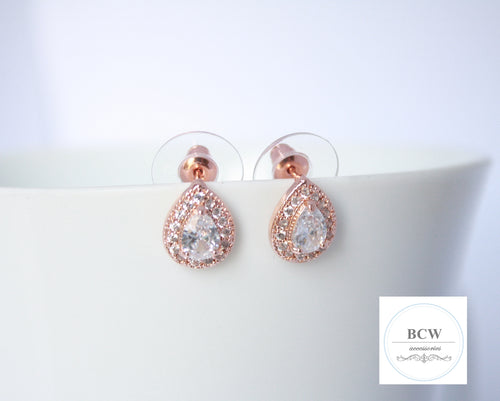 Rose Gold Tear Drop Halo Studs Earrings - BCW accessories