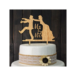 MR MRS Wooden Wedding Cake Topper