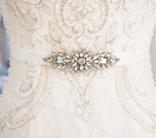 Load image into Gallery viewer, Rhinestone And Crystal Wedding Sash Belt