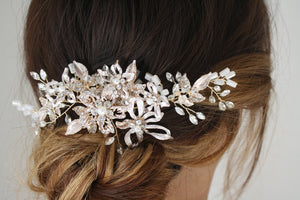 Rose Gold Flower Leaf with Crystal / Gold Comb