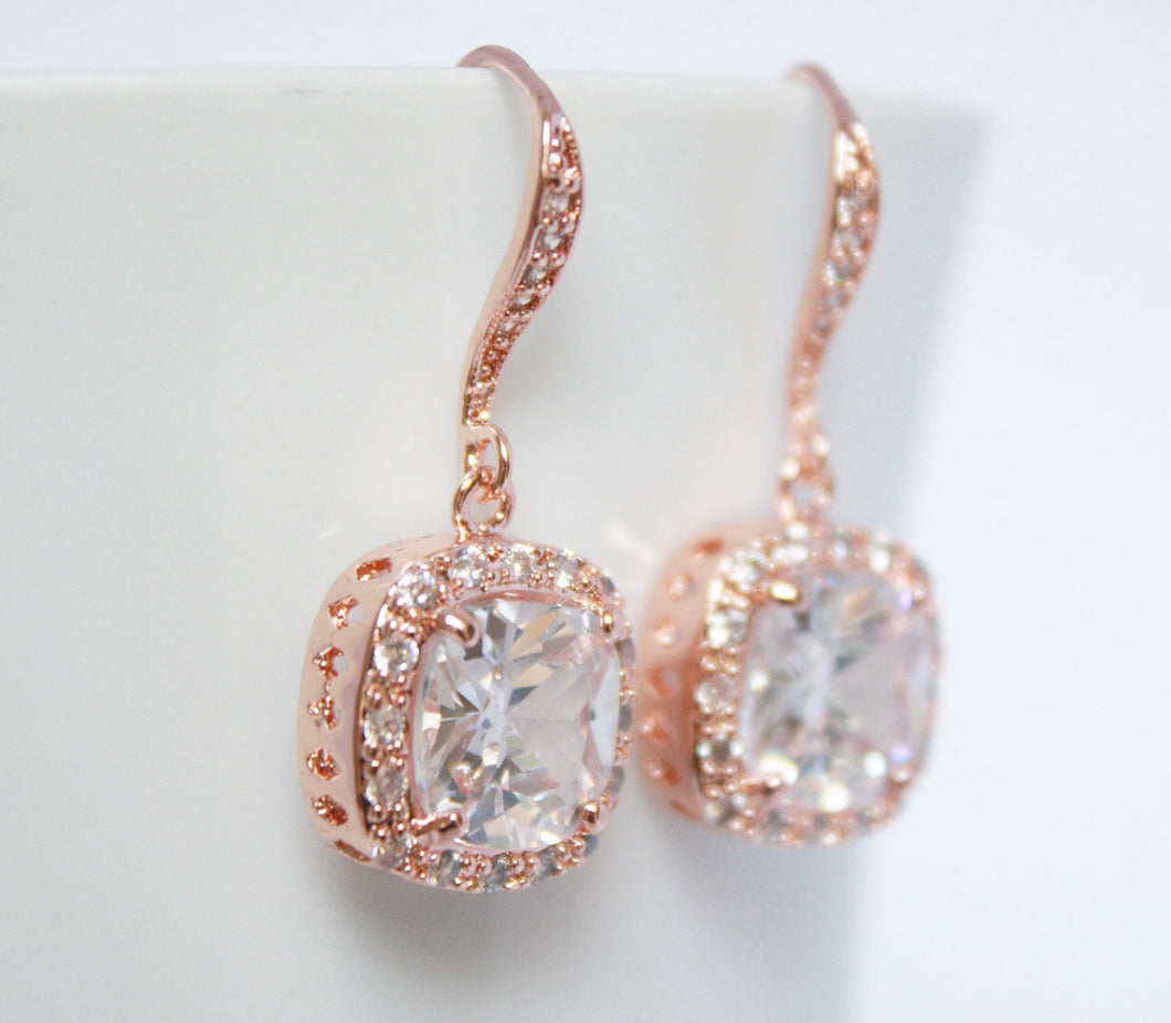Rose Gold Square Halo Earring - BCW accessories