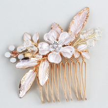 Load image into Gallery viewer, Matte Rose Gold Flower Leaf Bridal Hair Comb