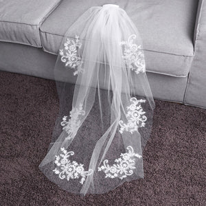 Elegant Crystal Beaded Bridal Veil Single Layer
