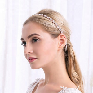 Silver Bridal Headband With Ivory Ribbon - BCW accessories