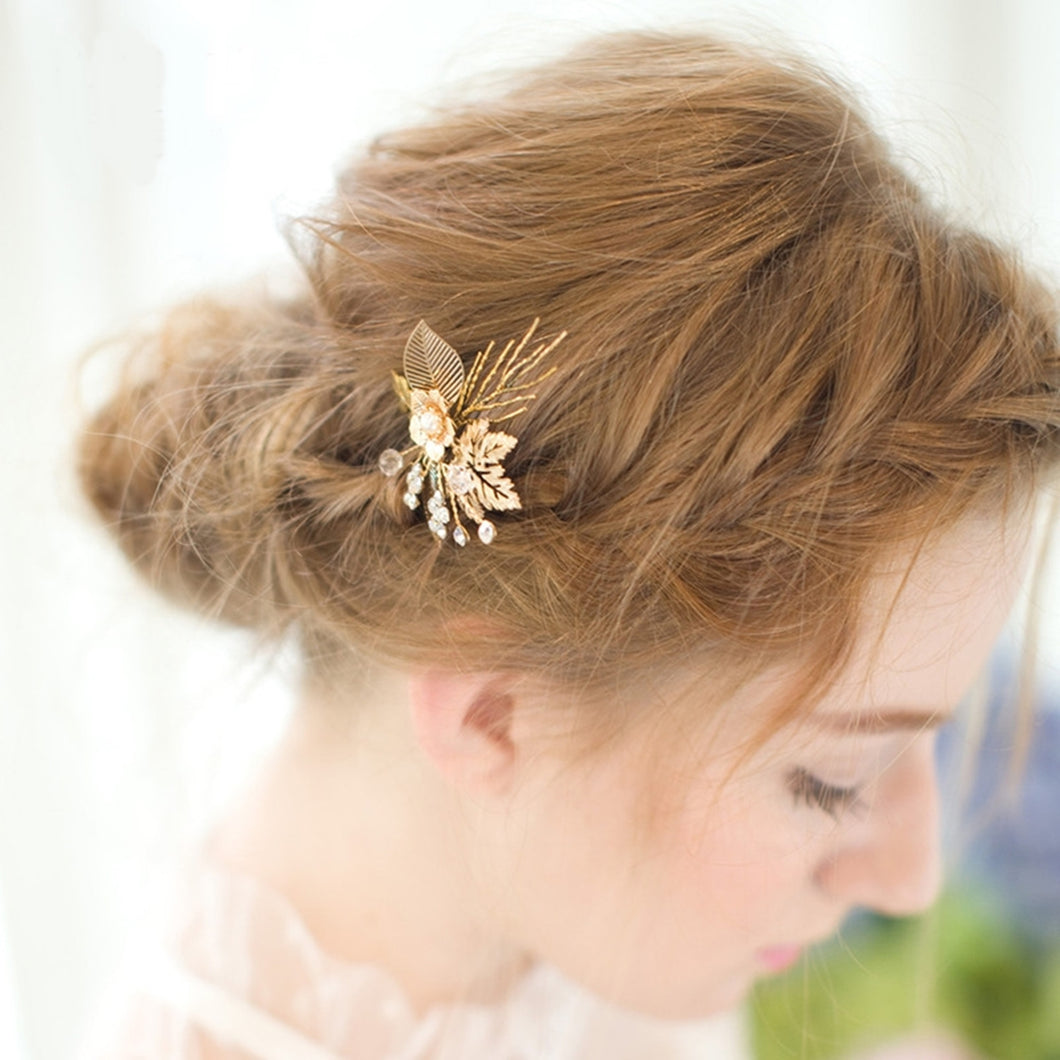 Vintage Rustic Gold Flower Leaf Hair Pin - BCW accessories