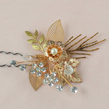 Load image into Gallery viewer, Vintage Rustic Gold Flower Leaf Hair Pin - BCW accessories