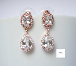 Rose Gold Tear Drop Round Halo Earrings - BCW accessories