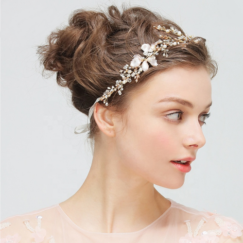 Gold Leaves and flower Crystal Bridal Hair Band