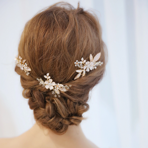 Matte Rose Gold Flower Leaf Bridal Hair Comb