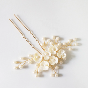Ivory Flower Gold Hair Pin And Hair Vine Set