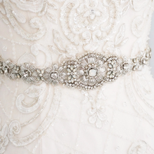 Load image into Gallery viewer, Opal Crystal Floral Bridal Belt Wedding Sashes
