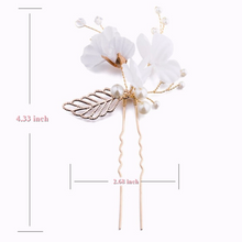 Load image into Gallery viewer, Set of 2 White Flower And Gold Leaf with Pearl Bridal Hair pin