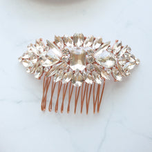 Load image into Gallery viewer, Crystal Rose Gold Bridal Hair Comb