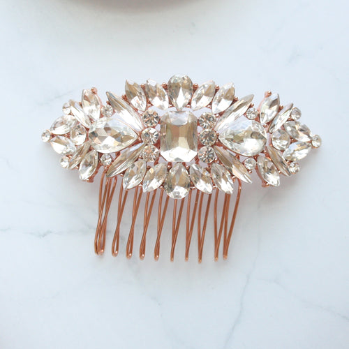 Crystal Rose Gold Bridal Hair Comb