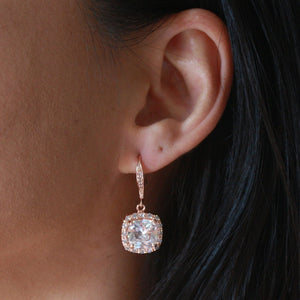 Rose Gold Square Halo Earring
