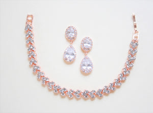 Rose Gold Halo Round Dropped Earrings And Bracelet Set