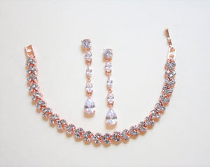 Rose Gold Dropped Earrings And Bracelet Set