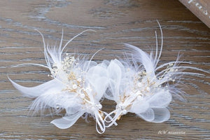 Set of 2 Bridal Hairpins Feather Hair Clips - BCW accessories