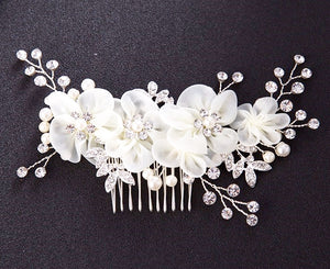 Bridal Fabric White Flower Comb With Beads - BCW accessories