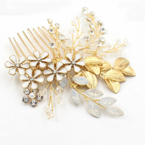 Bridal Gold White Flower Hair Comb - BCW accessories
