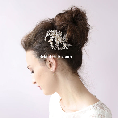 Graceful Gold Color Floral fireworks Bridal Hair comb #130 - BCW accessories