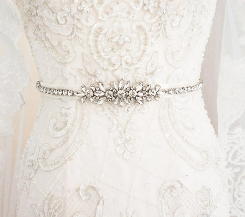 Antique Silver Crystal Bridal Sash Belt - BCW accessories