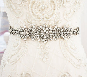 Antique Silver Crystal Flower Wedding Sash belt - BCW accessories