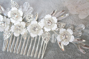 Silver Round Flower Rhinestone Bridal Hair Comb - BCW accessories