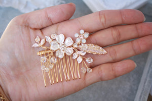 Rose Gold Flower Leaf Bridal Hair Comb And Hair Pin Set - BCW accessories
