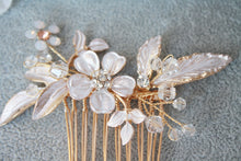 Load image into Gallery viewer, Matte Rose Gold Flower Leaf Bridal Hair Comb - BCW accessories
